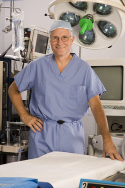 Dr Bernard in an operating room